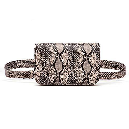 (Small PU Leather Elegant Fanny Pack Belt Bag Purse Snakeskin pattern for Women Travel)