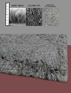 IXI CSNGRY Eros Faux Flokati Grey Shag Rug Size: 4' x 6'