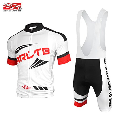 Arltb Cycling Jersey and Bib Shorts Set Bicycle Bike Short Sleeve Jersey Clothing Apparel Suit Padded Breathable Quick Dry Non Slip for Mountain Bike Road Bike MTB BMX Racing Outdoor (Jersey Cycling Set compare prices)