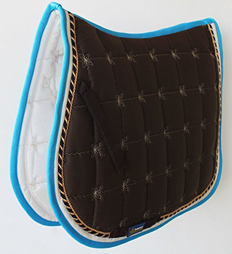 Brown English Saddle (Horse Cotton Quilted All Purpose ENGLISH SADDLE PAD Trail Brown Turquoise 72F40)