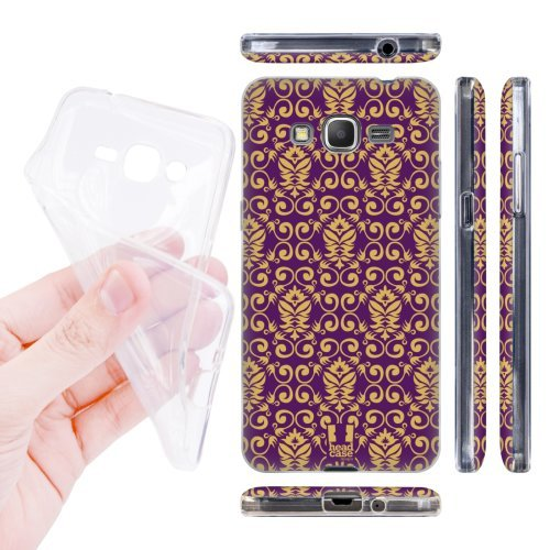 Head Case Designs Purple and Gold Damask Patterns Soft Gel Back Case Cover for Samsung Galaxy Grand Prime 3G 4G Duos LTE G530