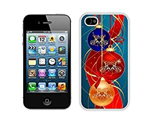 Iphone 4S Case,Blue Gold Red Jingling Bell Durability Apple Iphone 4 4s Silicone White Case