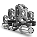 XMark Commercial Hard Chrome Olympic EZ Curl Bar Brass Bushings with Signature 115 lb. Olympic Plate Weight Sets, Great for Bicep Curl and Triceps Extension