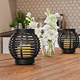 Lavish Home Decorative Round Rustic Rattan-Style Design, Set of 2- Energy Saving Flameless Pillar LED Candles with Lanterns