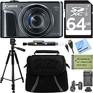 Canon PowerShot SX720 HS 20.3MP HD CMOS Digital Camera Black 64GB Deluxe Bundle includes Camera, 64GB SDXC Memory Card, Tripod, Battery, Charger, Bag, HDMI Cable, Cleaning Pen and Beach Camera Cloth
