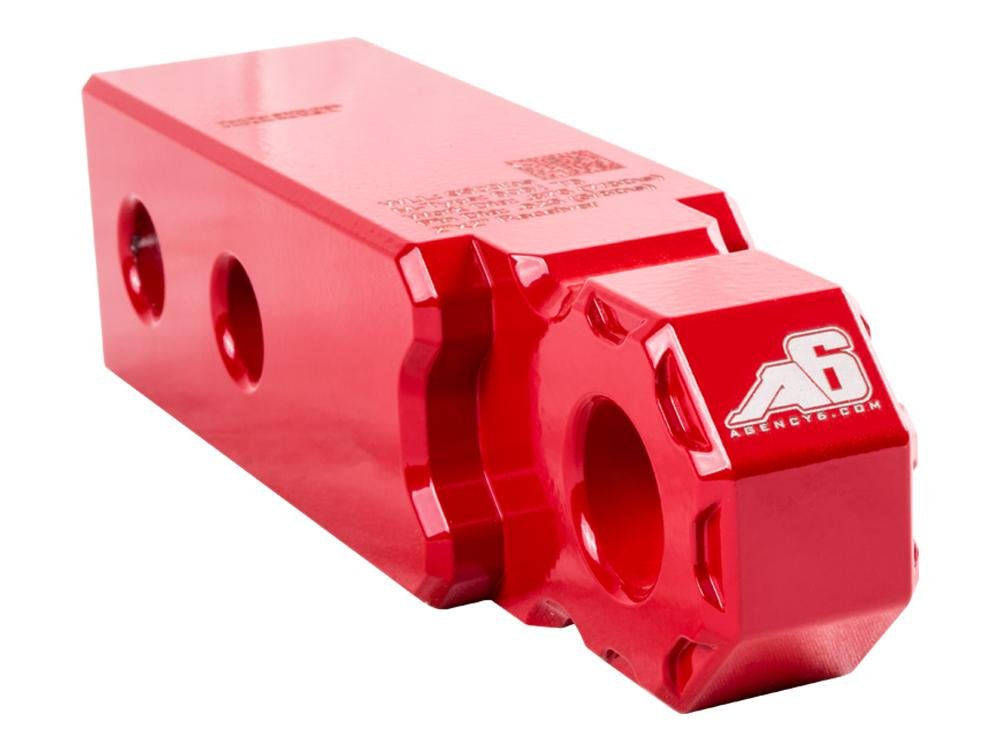 Agency 6 Recovery Shackle Block 2' XL (Double Hole) - RED - Hitch Receiver Fits 2 inch Hitch HitchLink - Proudly Made in The USA with US Certified Materials Agency 6 Inc