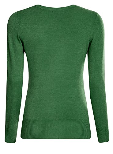 oodji Ultra Mujer Jersey Básico de Hilo Suave Verde (6E00N)