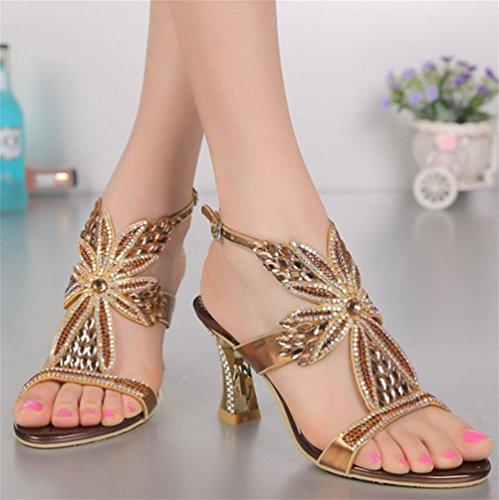 Mariage La Luxueux Gold Boucle Après Hauts Grande Femmes Chaussures Talons Rugueux Sandales Diamant À Qpyc Strass Talon Ajouré Taille De gvCwWZq