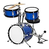 Best Choice Products 3-Piece Kids Beginner Drum Set w/Sticks, Chair, and Drum Pedal - Blue