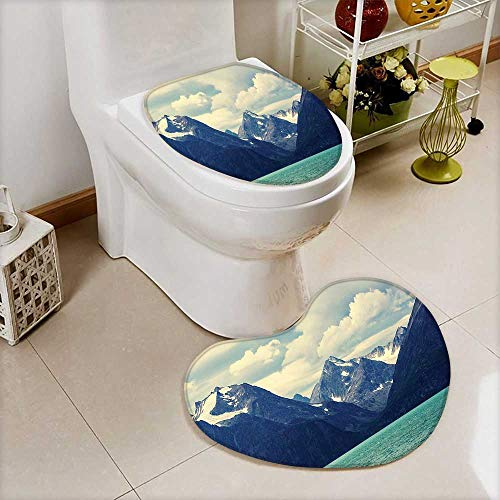 L-QN 2 Piece Large Contour Toilet mat Nature Decor Northern Norway Mountains Atlantic Coastline Picture Print White Indigo High Density Space Memory Cotton (Memories Coastline Atlantic)