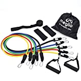 Meglio Resistance Bands Set – 5 Tubes with Handles – Premium Fitness Exercise Bands for Fitness Workouts Rehabilitation Yoga Pilates and Strength Training – Includes Exercise Guides