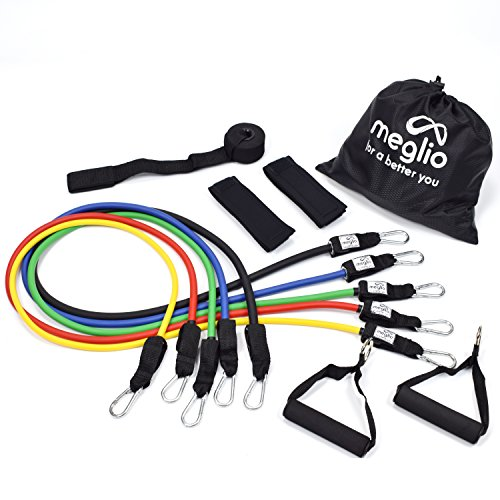 Premium Fitness Tube - Meglio Resistance Bands Set - 5 Tubes with Handles - Premium Fitness Exercise Bands for Fitness Workouts Rehabilitation Yoga Pilates and Strength Training - Includes Exercise Guides