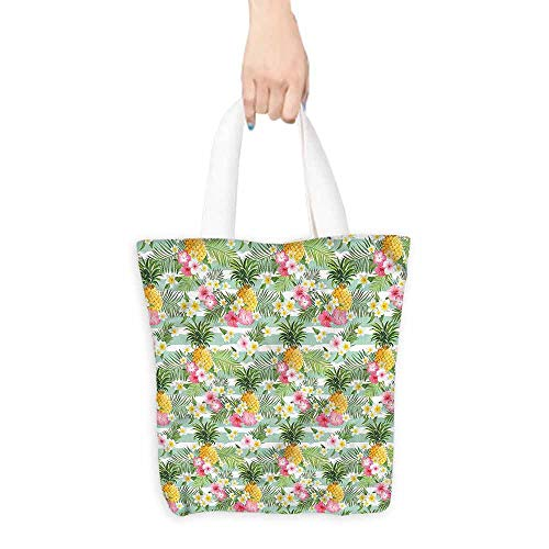 - Washable Grocery Tote with Pouch,Fruits Tropical Plants Botany,Fits in Pocket Waterproof & Lightweight,16.5