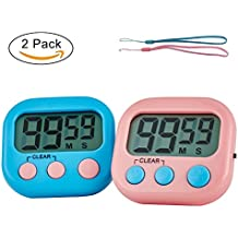 Cocoly 2 Pack Digital Timer With Big Digits,Loud Alarm,Magnetic Backing,Stand For Indoor Outdoor Kids Teacher Kitchen