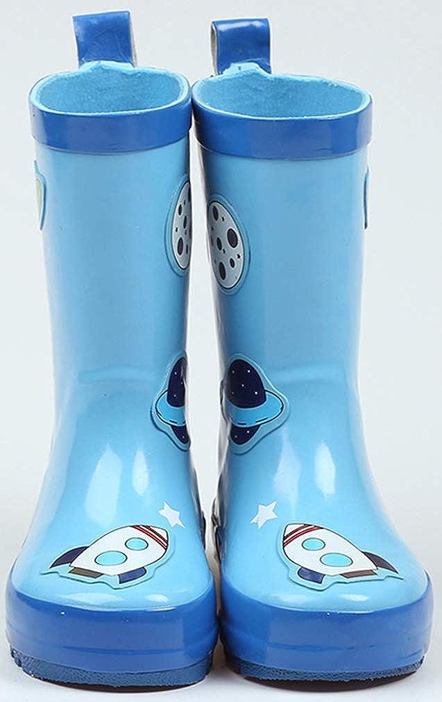 VECJUNIA Boys Girls Waterproof Rain Boots High Top Shoes with Cartoon Prints