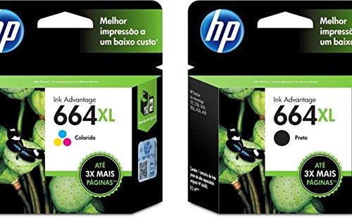 Kit de Cartuchos de Tinta Ink Advantage HP Suprimentos F6V31AB HP 664XL Preto 8,5 ML + F6V30AB HP 664xl Tricolor 8,0 ML