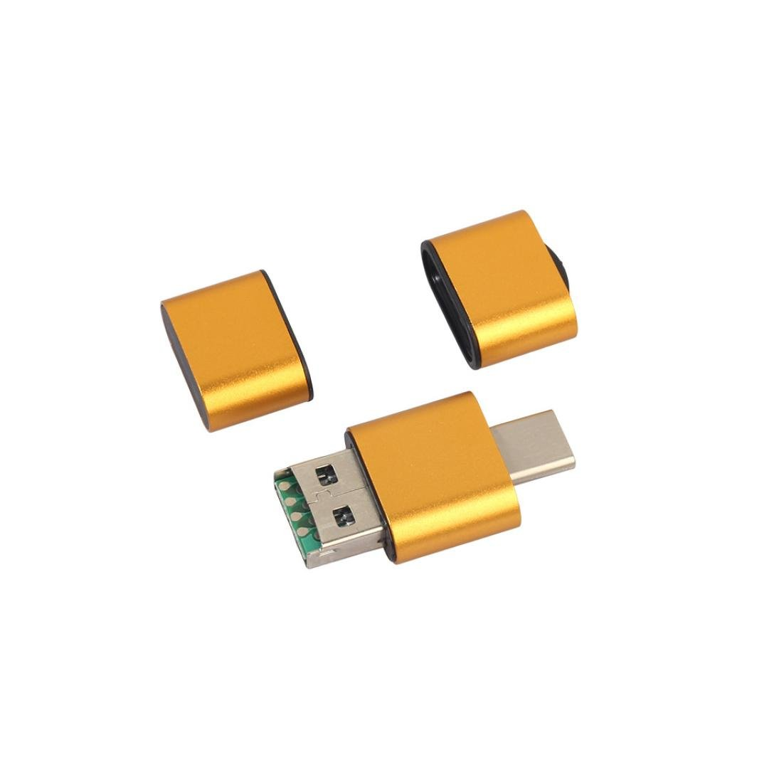 AutumnFall 2018 New OTG Type C To USB 2.0 TF/Micro SD Card Reader Adapter Type C Port For Android Phone (Gold)