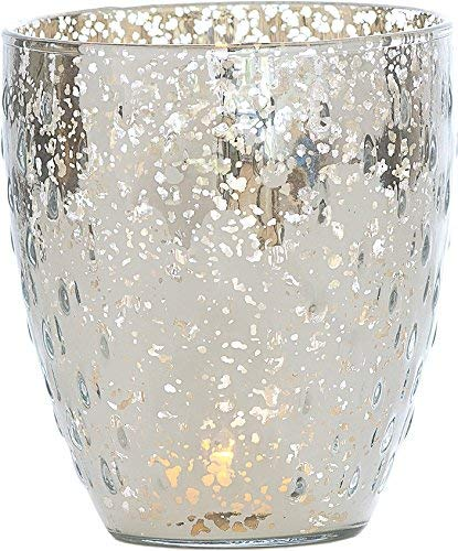 Luna Bazaar Vintage Mercury Glass Vase or Candle Holder (5.25-Inch, Large Deborah Design, Silver) - For Home Decor, Party Decorations, and Wedding Centerpieces