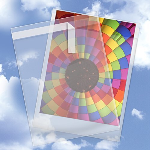 "10"" x 13"" Crystal Clear Cello Sleeves Envelope with Self Adhesive Flap Closure - 100 Cello Bags Pack (1.6 mil)"