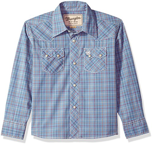 Wrangler Little Boys' Retro Long Sleeve Two Flap Pockets Snap Front Shirt, Denim Blue, S (Western Retro Snap Shirt)