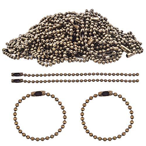 (BronaGrand 100pcs Ball Chains Key Rings, 100mm Long Bead Connector Clasp 2.4 mm Diameter (Bronze))
