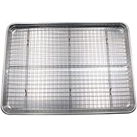 Checkered Chef Half Sheet Pan and Rack Set - Aluminium Cookie Sheet Baking Sheet Set with Stainless Steel Oven Safe…