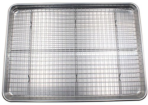 Checkered Chef Baking Sheet and Rack Set - Aluminum Cookie Sheet/Half Sheet Pan for Baking with Stainless Steel Oven Safe Cooling Rack ()