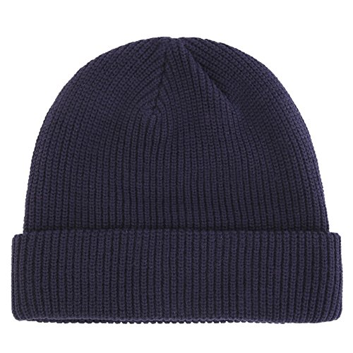 Connectyle Outdoor Classic Bassic Men's Warm Winter Hats Daily Thick Knit Cuff Beanie Cap Navy Blue ,Medium ()