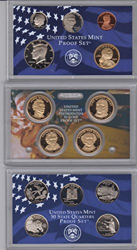 2008 Birth Year Coin Set (14) Proof Coins-4 Presidential Dollars, 1 Susan B. Anthony Dollar, Kennedy Half Dollar, 5- Washington 50 State Quarters, Dime, Nickel, And Cent - Encased in Plastic Display Cases With A Box Proof- (Quarter Anthony Susan B)