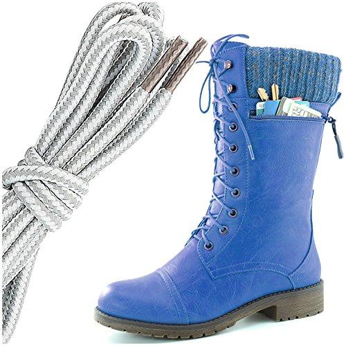 Dailyshoes Da Donna Stile Di Combattimento Lace Up Stivaletto Alla Caviglia Punta Rotonda Coltello Da Lavoro A Maglia Militare In Pelle Portafogli Tasca Portafoglio, Grigio Bianco Blu Pu