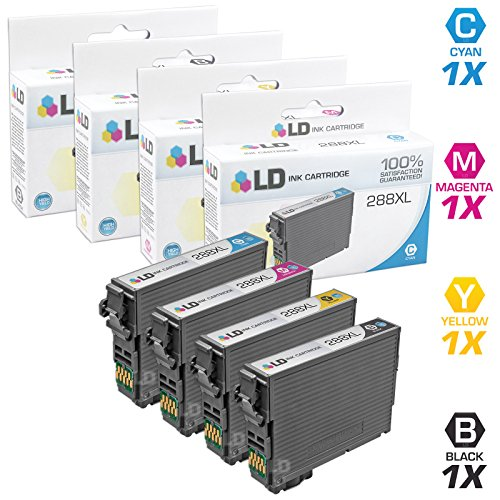 LD © Remanufactured Epson 288 / 288XL / T288 / T288XL Set of 4 High Yield Ink Cartridges (Black, Cyan, Magenta, Yellow) for use in Expression XP-330, XP-430, XP-434 & XP-440
