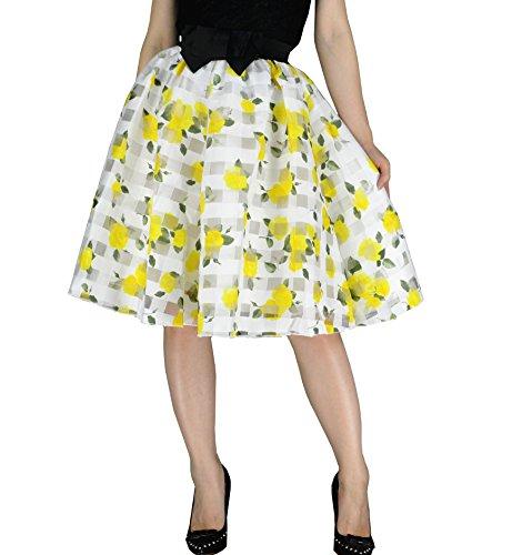 YSJERA Lady's Organza Princess Skirt Bowknot A Line Pleated Midi/Knee Length Tutu Party Skirts ()