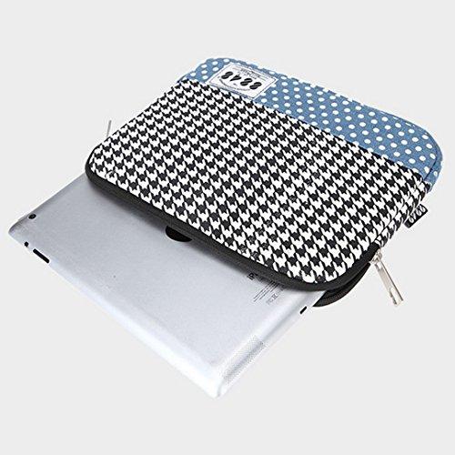 Good Bag Portable Universal iPad Case Handbag Tablet Organizer Travel Accessories Organizer Case Electronic Case With Black & White Tartan Plaid