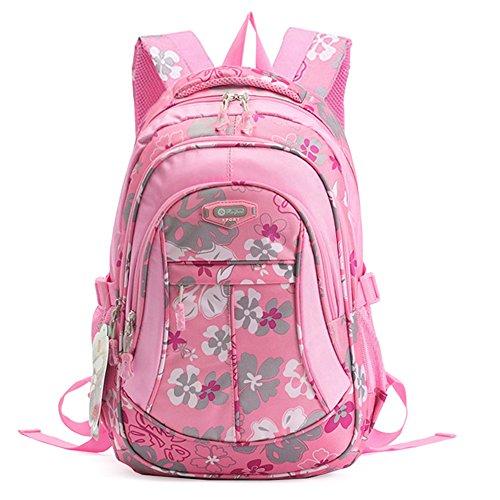 JiaYou Girl Flower Printed Primary Junior High University School Bag Bookbag Backpack (24 Liters, Style A Pink)