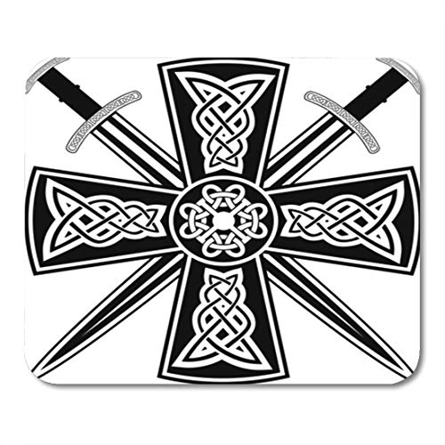 Semtomn Gaming Mouse Pad Pagan Celtic Cross The Crossed Swords Knot Medieval Tribal 9.5