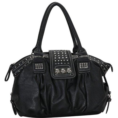 MG Collection Brenna Studded Large Shopper Hobo Shoulder Bag, Black, One Size (Stud Hobo Purse)