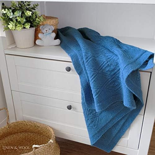 Silla de Paseo 85 x 65cm Beige Linen /& Cotton Mantita de Arrullo//Manta de Cama de Punto//Manta de Forro para Beb/é Reci/én Nacido Lilou Cochecito 100/% Pura Lana de Nueva Zelanda Ideal para Cuna