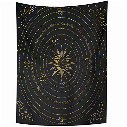60 Inch Space Asteroids Solar System Model Sun Nature Astrology Science Astronomy Black Gold Earth Design Wall Hanging Home Decor for Living Room Bedroom Dorm ()