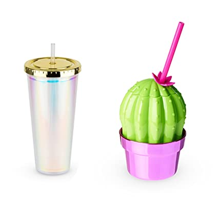 amazon com iridescent and cactus drink tumbler set of 8 tumblers
