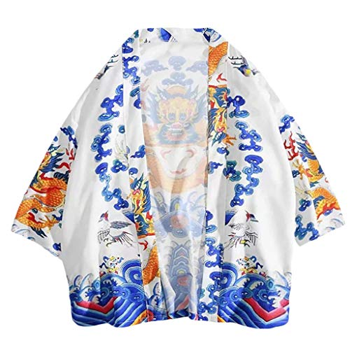 (Men's Japanese Dragon Wave Printed Cotton Blends Linen Kimono Cardigan Jackets )