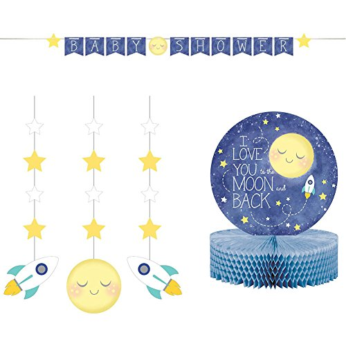 I Love You to The Moon and Back Party Decorations Pack | Jointed Party Banner, Moon and Star Dizzy Danglers, and Honeycomb Centerpiece | Great to use as Gender Neutral Baby Shower Decorations!