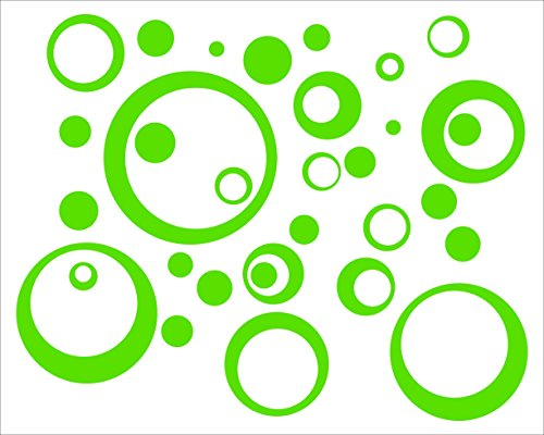 Lime Green Wall Vinyl Sticker Decal Circles, Bubbles, Dots 25+ Pc