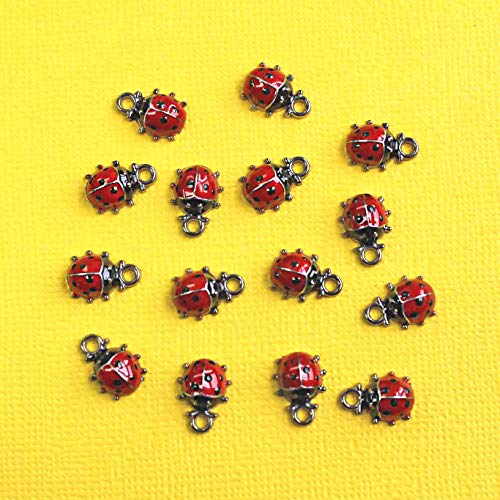(2 Ladybug Charms Plated Red and Black Enamel Lady Bugs E131 - for Jewelry Making Pendant Bracelet)