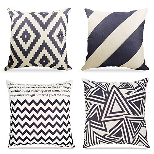 Throw Pillows Cushion Covers Cotton Linen Black and Beige Modern Geometry Print Home Pillowcases 18 X 18 Inch,4 Pack