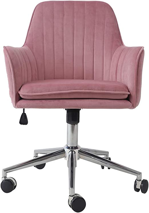 Amazon Com Ardico Home Office Chair With Middle Back Modern Design Velvet Desk Task Chair With Arms In Study Bedroom Pink Kitchen Dining