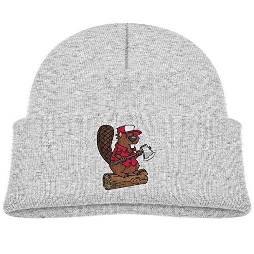 (Sghyygcjs Woodworking Beaver Comfortable Soft Unisex Children's Headwear Warm Winter Hat Knit Cap Beanie Hat Gray )