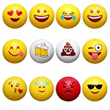Golf Balls,Emoji Novelty Professional Practice Golf Balls Toy. Kids Novelty Gifts for Dad's Day Outdoor or Field Playing, 12 Count
