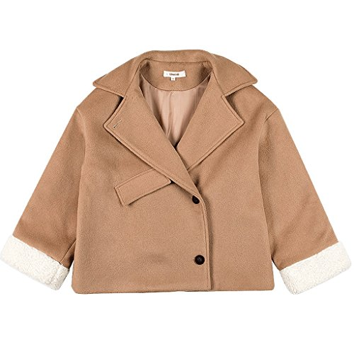 LI SHI XIANG SHOP Winter coat short jacket woman clothes (Color : Khaki, Size : S) by LI SHI XIANG SHOP