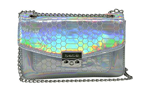 bebe Holographic Ona Quilted Chain Crossbody Purse (Bebe Clutch)