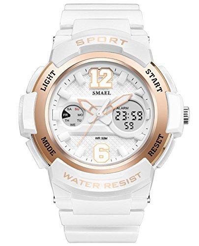Price comparison product image Cheamlion Teens Girls White Students Waterproof Analog Digital Watch